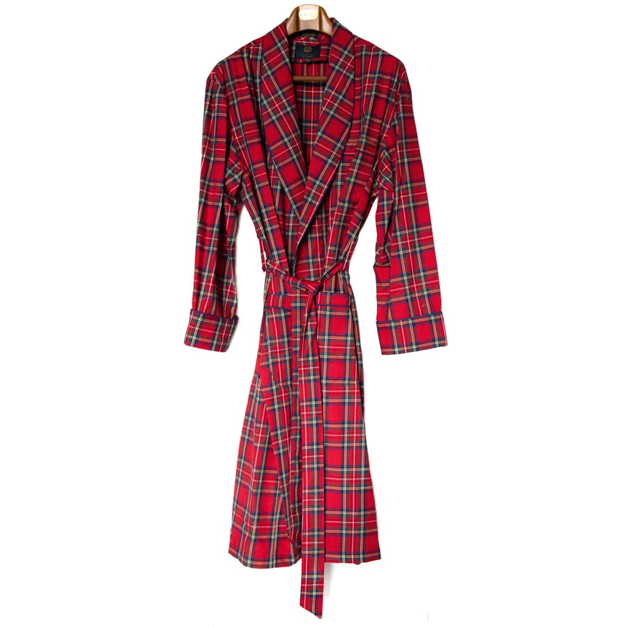 Gentleman's Cotton and Wool Blend Robe in Royal Stewart Tartan by Viyella