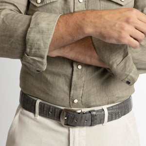 Genuine Caiman Crocodile Belt in Grey by L.E.N. Bespoke