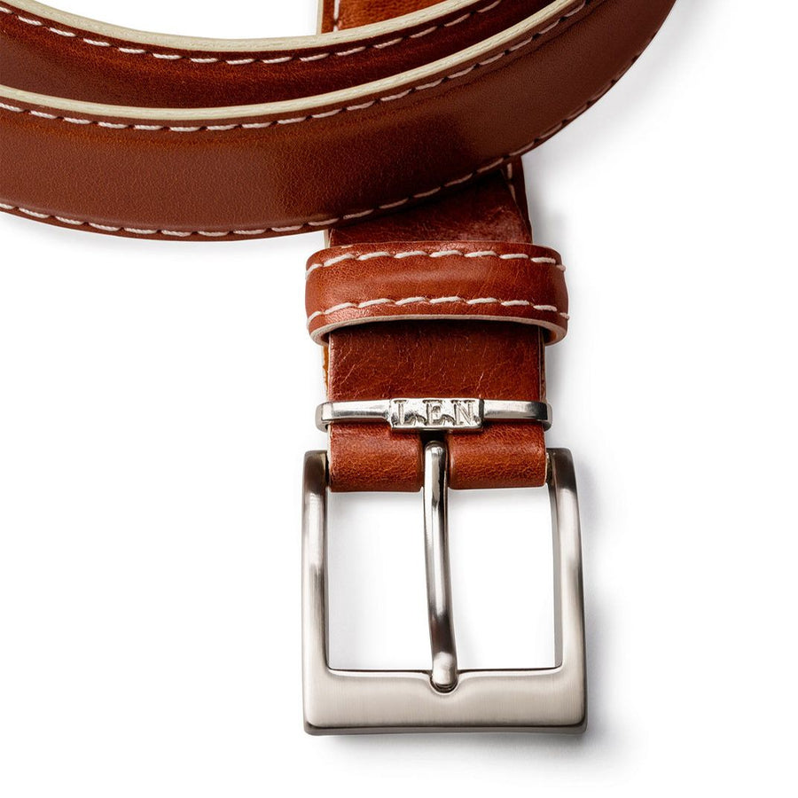 Italian Calf Belt in Cognac with Beige Stitching by L.E.N. Bespoke