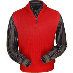 Baby Alpaca 'Links Stitch' Ribbed Zip-Neck Sweater Vest in Red by Peru Unlimited