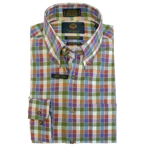 Green, Rust, Plum, and Blue Check Cotton and Wool Blend Button-Down Shirt by Viyella