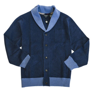 Cotton Shawl Collar Two-Tone Button-Front Cardigan Sweater in Blue by Viyella