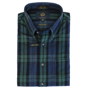 Blackwatch Tartan Cotton and Wool Blend Button-Down Shirt by Viyella