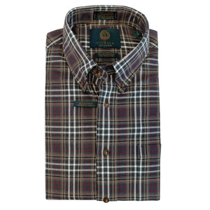 Tan, Charcoal, and Red Plaid Cotton and Wool Blend Button-Down Shirt by Viyella