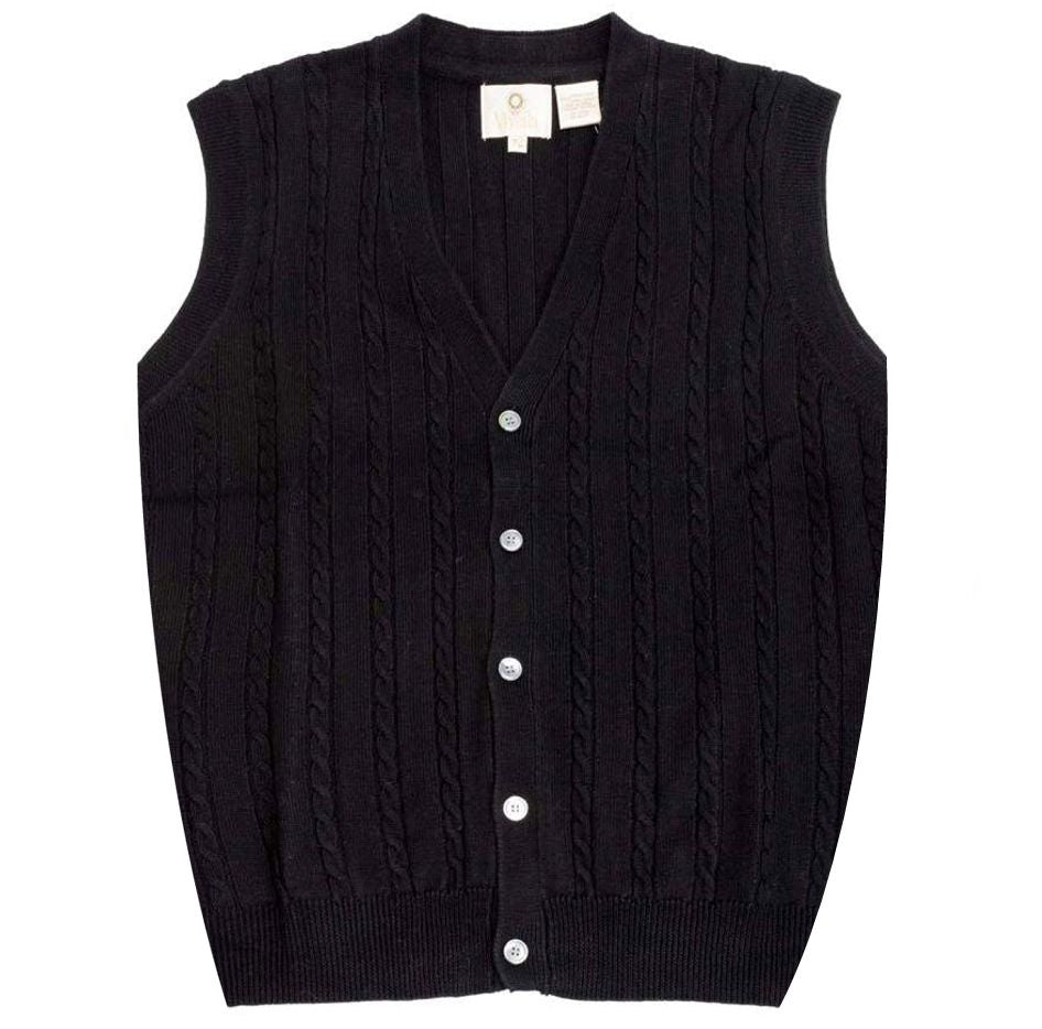 1d176d76 Extra Fine 'Zegna Baruffa' Merino Wool Button-Front Cable Knit Sleeveless  Sweater Vest in Black by Viyella