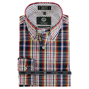 Navy, Red, and Green Multi Plaid Cotton Wrinkle-Free Button-Down Shirt by Viyella