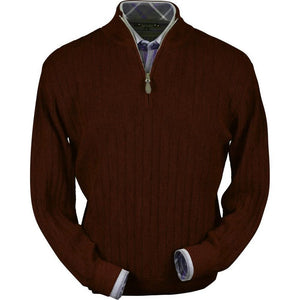 Baby Alpaca 'Links Stitch' Half-Zip Mock Neck Sweater in Wine Heather by Peru Unlimited