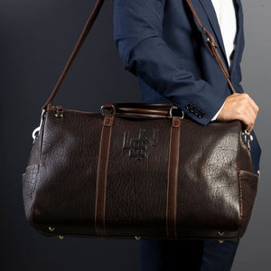 American Bison Leather Duffle Bag in Mahogany by L.E.N. Bespoke