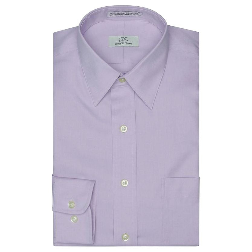The Classic Lavender - Wrinkle-Free Pinpoint Cotton Dress Shirt by Cooper & Stewart