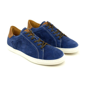Martin Lace-Up Sneaker in French Blue Suede by Alan Payne Footwear