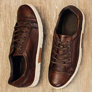 Tribeca Deerskin Lace-Up Sneaker in Chestnut by T.B. Phelps