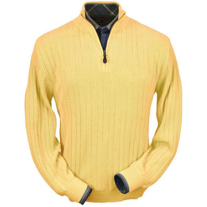 Baby Alpaca 'Links Stitch' Half-Zip Mock Neck Sweater in Yellow by Peru Unlimited