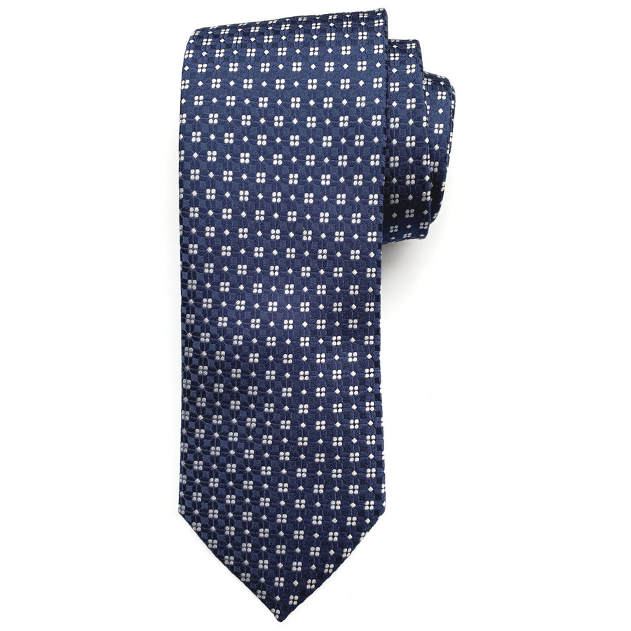 Navy and Silver-GreyNeat Woven Silk Tie by Bruno Marchesi