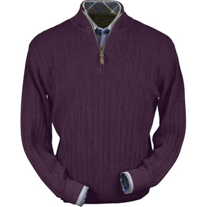 Baby Alpaca 'Links Stitch' Half-Zip Mock Neck Sweater in Eggplant Heather by Peru Unlimited
