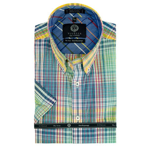 Teal, Yellow, and Blue Plaid Short Sleeve Cotton Wrinkle-Free Sport Shirt by Viyella