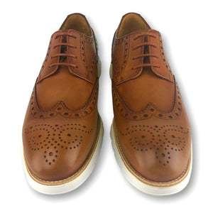 Berkeley Hybrid Brogue Wingtip Dress Sneaker in Mogano Leather by Armin Oehler