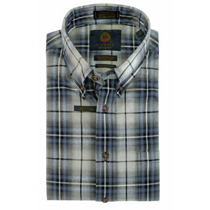 Grey and Chambray Plaid Cotton and Wool Blend Button-Down Shirt by Viyella