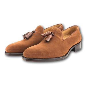 Kiawah Tassel Loafer in Pecan Suede by Armin Oehler