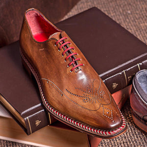 Veloce Medallion Toe Oxford in Cuoio/Rosso by Jose Real