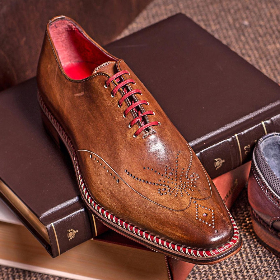 Veloce Medallion Toe Oxford in Cuoio/Rosso Brown by Jose Real
