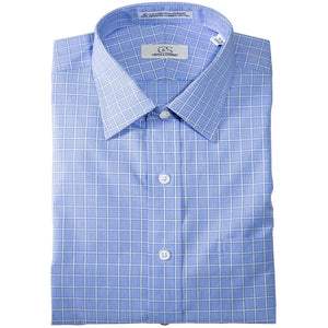 Wrinkle-Free Overlay Check Cotton Dress Shirt in Blue by Cooper & Stewart