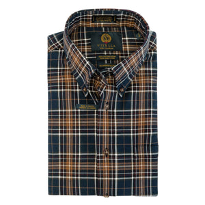 Navy and Rust Plaid Cotton and Wool Blend Button-Down Shirt by Viyella