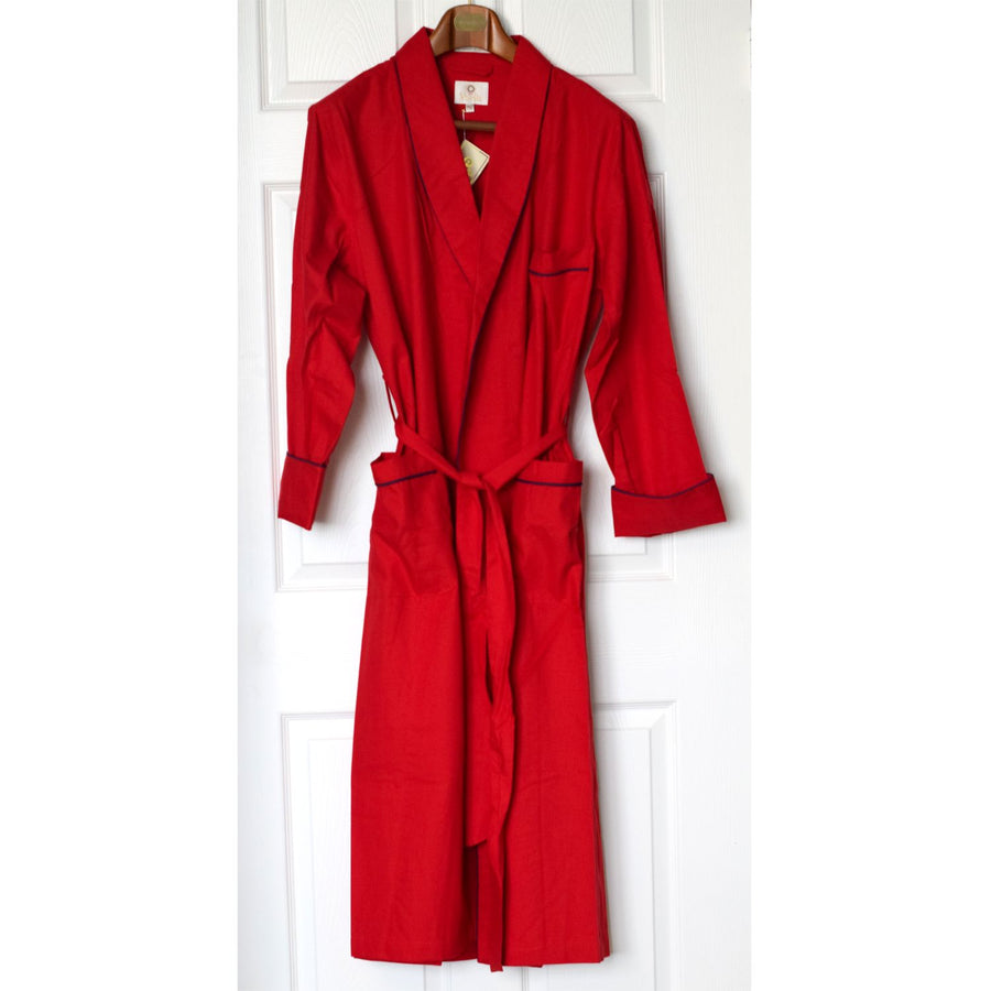 Gentleman's Cotton and Wool Blend Robe in Solid Red by Viyella