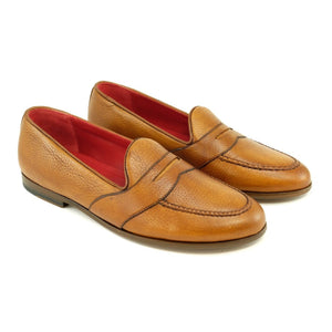 Barney Deerskin Penny Loafer in Cognac by Alan Payne Footwear