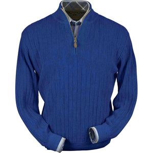 Baby Alpaca 'Links Stitch' Half-Zip Mock Neck Sweater in Electric Blue by Peru Unlimited