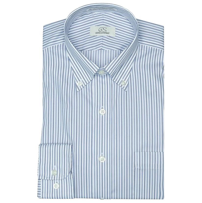 The Manhattan - Wrinkle-Free Shadow Stripe Cotton Dress Shirt with Button-Down Collar in Blue and White by Cooper & Stewart