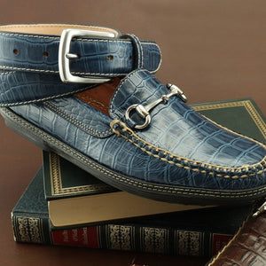 Croco Embossed Leather Horse Bit Driver in Navy by T.B. Phelps