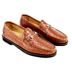 Windsor Gator Embossed Calfskin Bit Loafer in Brandy by Alan Payne Footwear