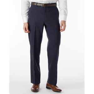 Super 120s Wool Travel Twill Comfort-EZE Trouser in New Navy (Flat Front Models) by Ballin