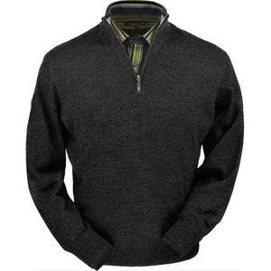 Royal Alpaca Half-Zip Mock Neck Sweater in Charcoal Heather by Peru Unlimited