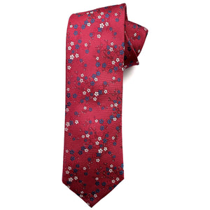 Red, Blue, and Silver-Grey Floral Woven Silk Tie by Bruno Marchesi