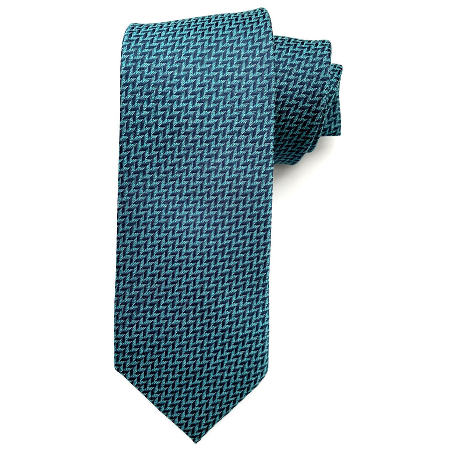 Aqua and Navy Herringbone Woven Silk and Cotton Tie by Bruno Marchesi
