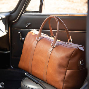 French Pebble Grain Leather Duffle Bag in Cognac by L.E.N. Bespoke