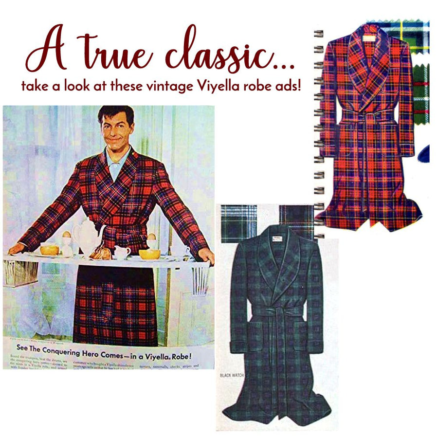 Gentleman's Cotton and Wool Blend Robe in Brown Tattersall by Viyella