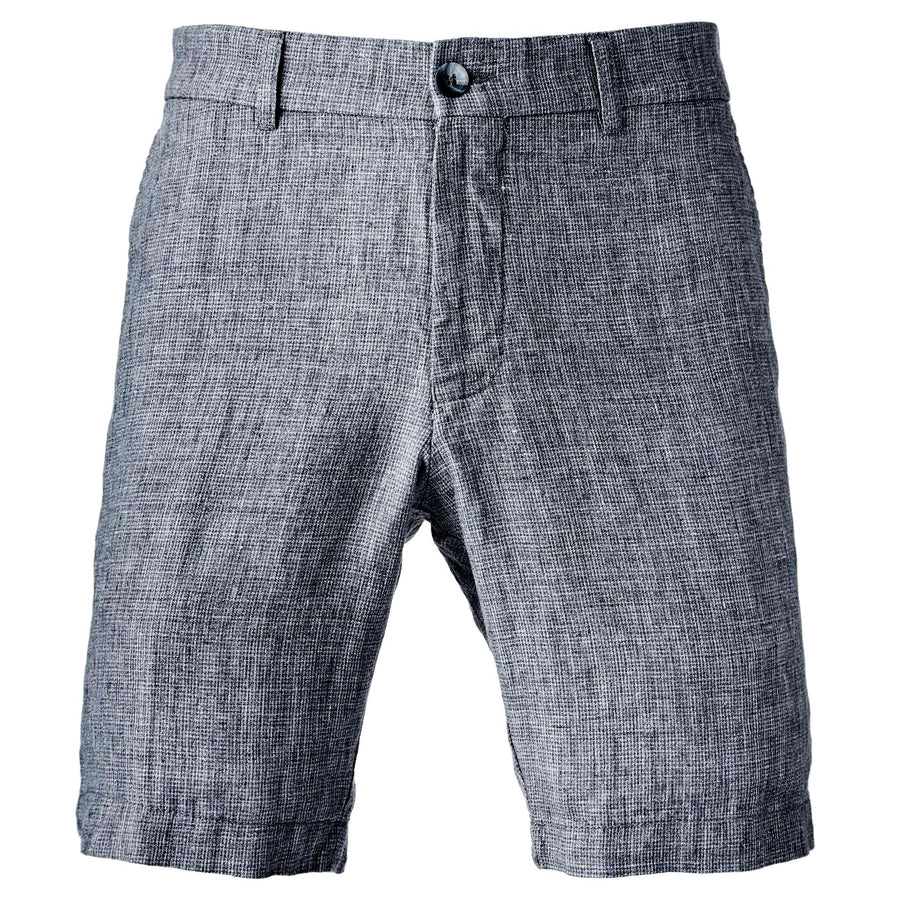 Chambray Linen Micro Houndstooth Shorts in Navy Mix by Ballin