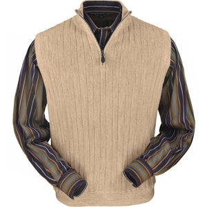 Baby Alpaca 'Links Stitch' Ribbed Zip-Neck Sweater Vest in Beige Heather by Peru Unlimited