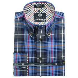 Navy, Blue, and Grey Plaid Cotton Wrinkle-Free Button-Down Shirt by Viyella
