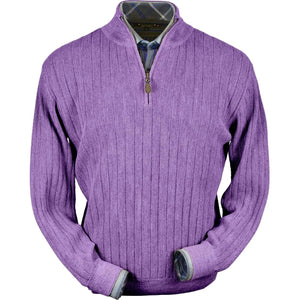 Baby Alpaca 'Links Stitch' Half-Zip Mock Neck Sweater in Lilac Heather by Peru Unlimited