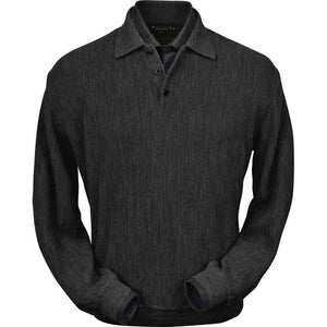 Baby Alpaca 'Links Stitch' Polo Style Sweater in Charcoal Heather by Peru Unlimited