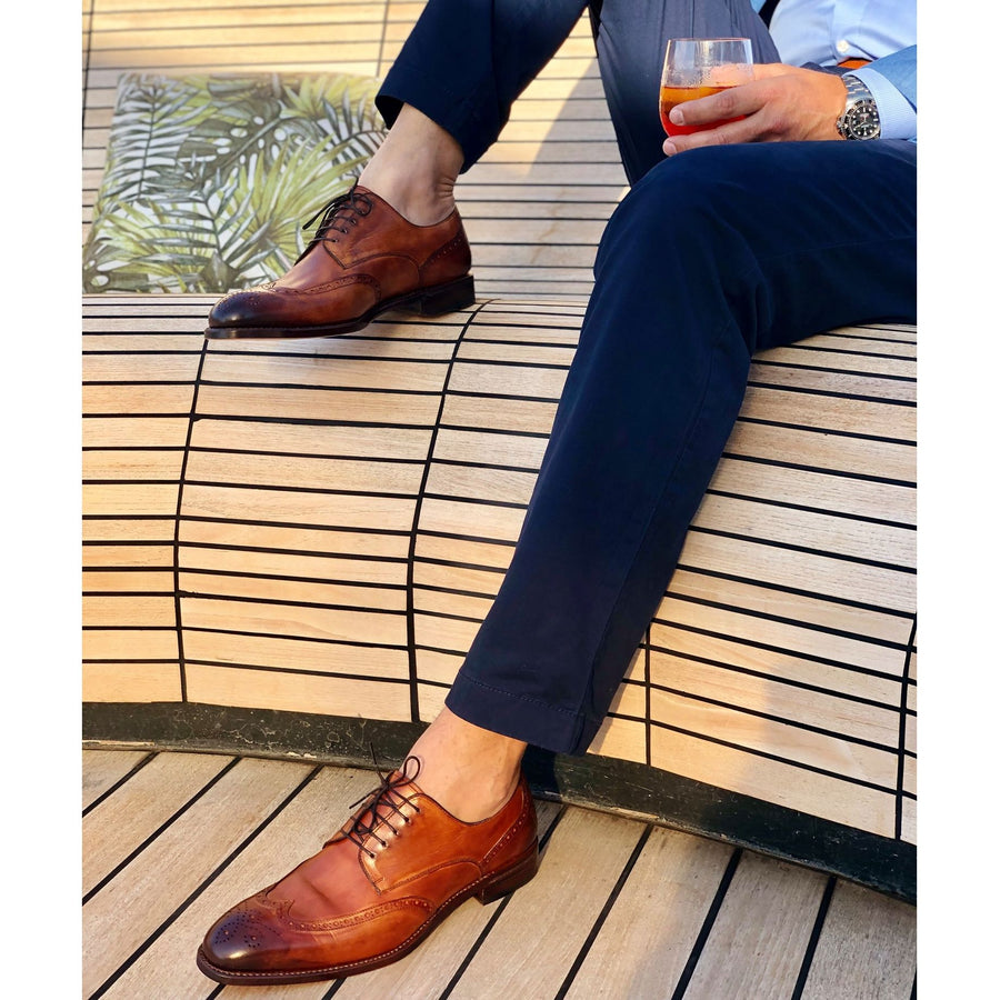 Atlanta 1618 Wingtip with Brogue Detailing in Golden Oak by Armin Oehler