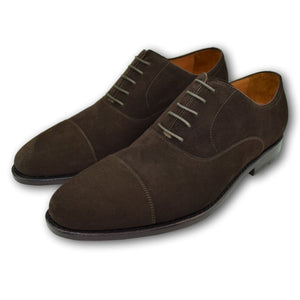Macon Plain Cap Toe Oxford Shoe in Well-Bred Brown Suede by Armin Oehler