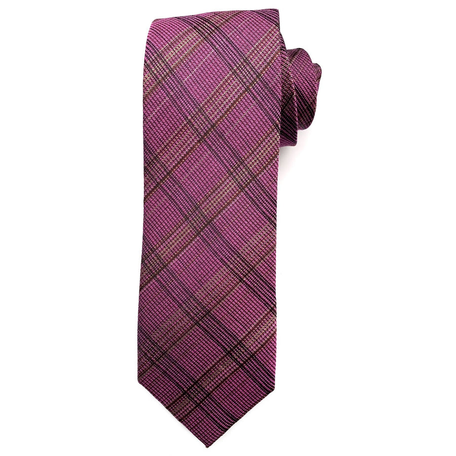 Raspberry, Tan, and Brown Plaid Woven Silk and Cotton Tie by Bruno Marchesi