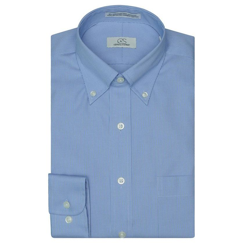 The Aberdeen - Wrinkle-Free Mini Houndstooth Cotton Dress Shirt with Button-Down Collar in Blue by Cooper & Stewart