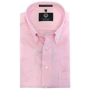 Linen Easy Care Long Sleeve Cotton Wrinkle-Free Sport Shirt in Pink by Viyella