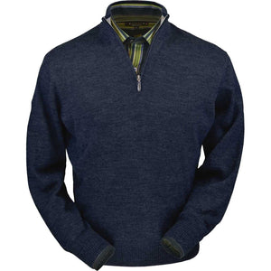 Royal Alpaca Half-Zip Mock Neck Sweater in Midnight Heather by Peru Unlimited