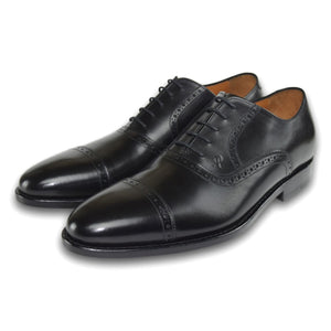 Charlotte Cap Toe Lace-Up Shoe with Brogue Detailing in Charcoal Black by Armin Oehler